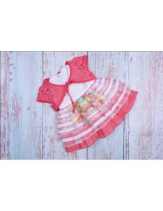 Платье нарядное для малышек с коралловым кружевным болеро bebus
