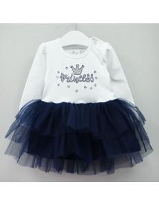 """Платье для малышек с длинным рукавом белого цвета """"Princess"""""""