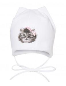 """Шапочка для малышей белого цвета """"кошачьи ушки"""""""