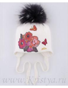Шапка зимняя белого цвета с цветами МАРТИНА kids